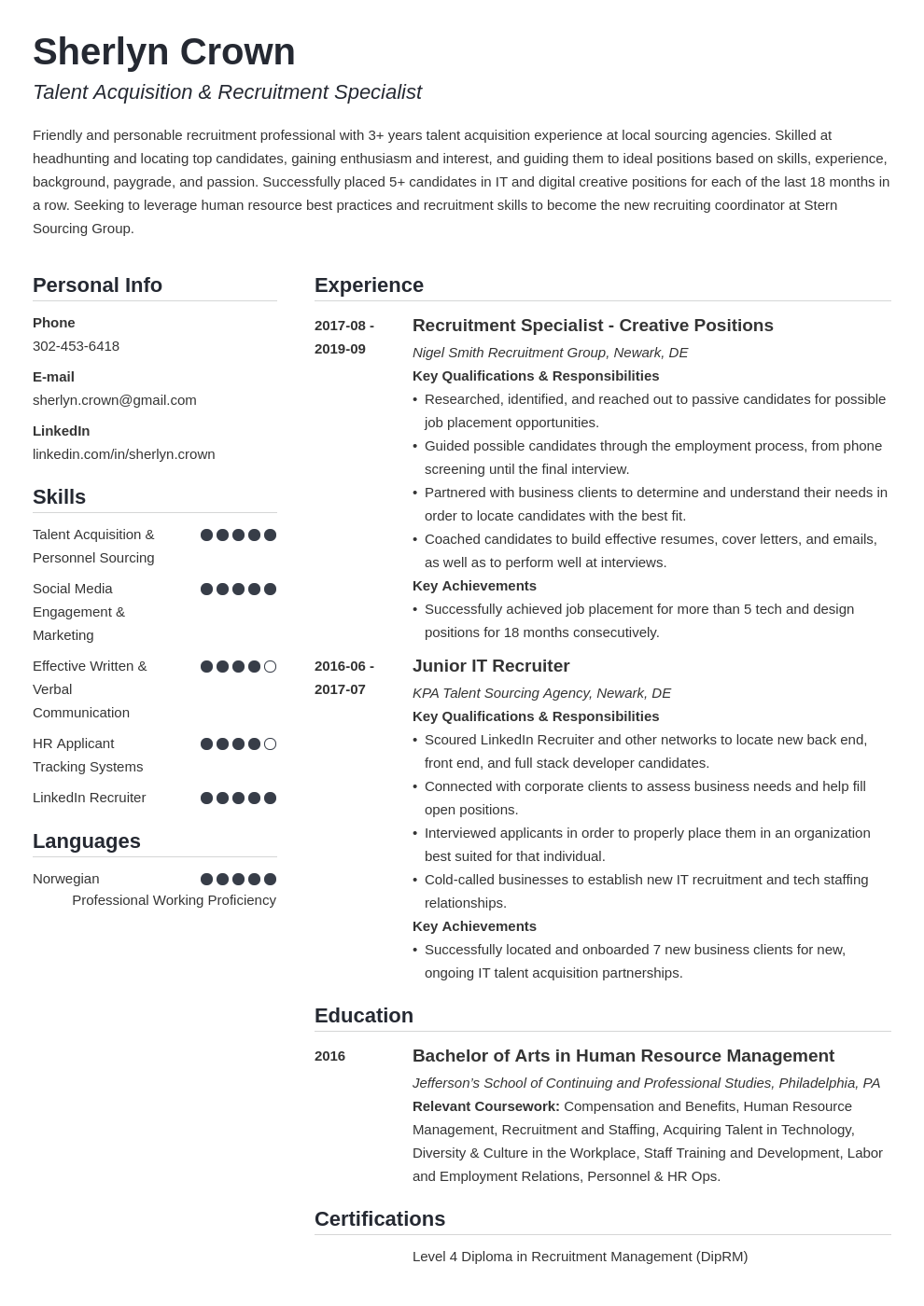 recruiter template simple