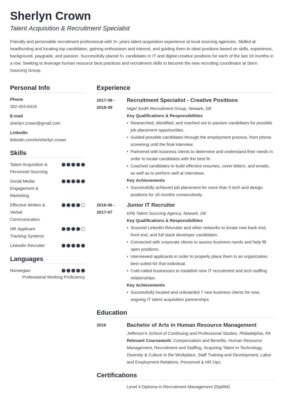 recruiter template simple uk