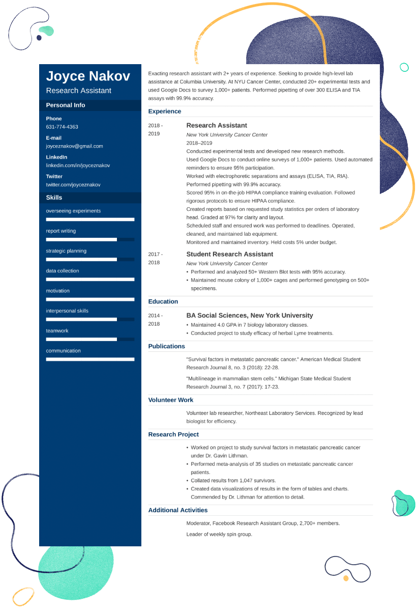 Research Assistant Resume Examples And 25 Writing Tips
