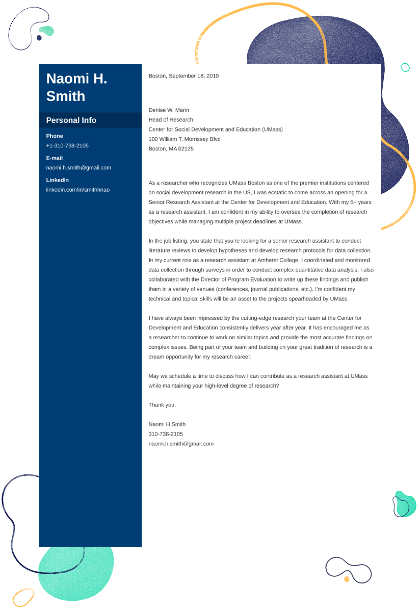 Research Assistant Cover Letter: Examples & Ready-To-Use ...