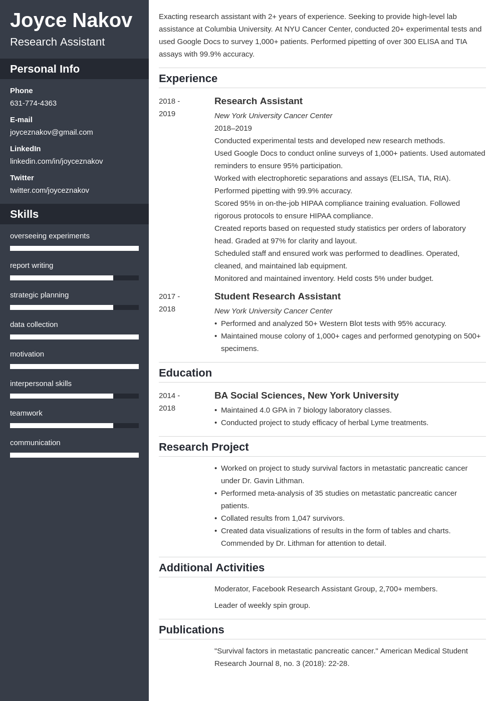 research assistant template cascade uk