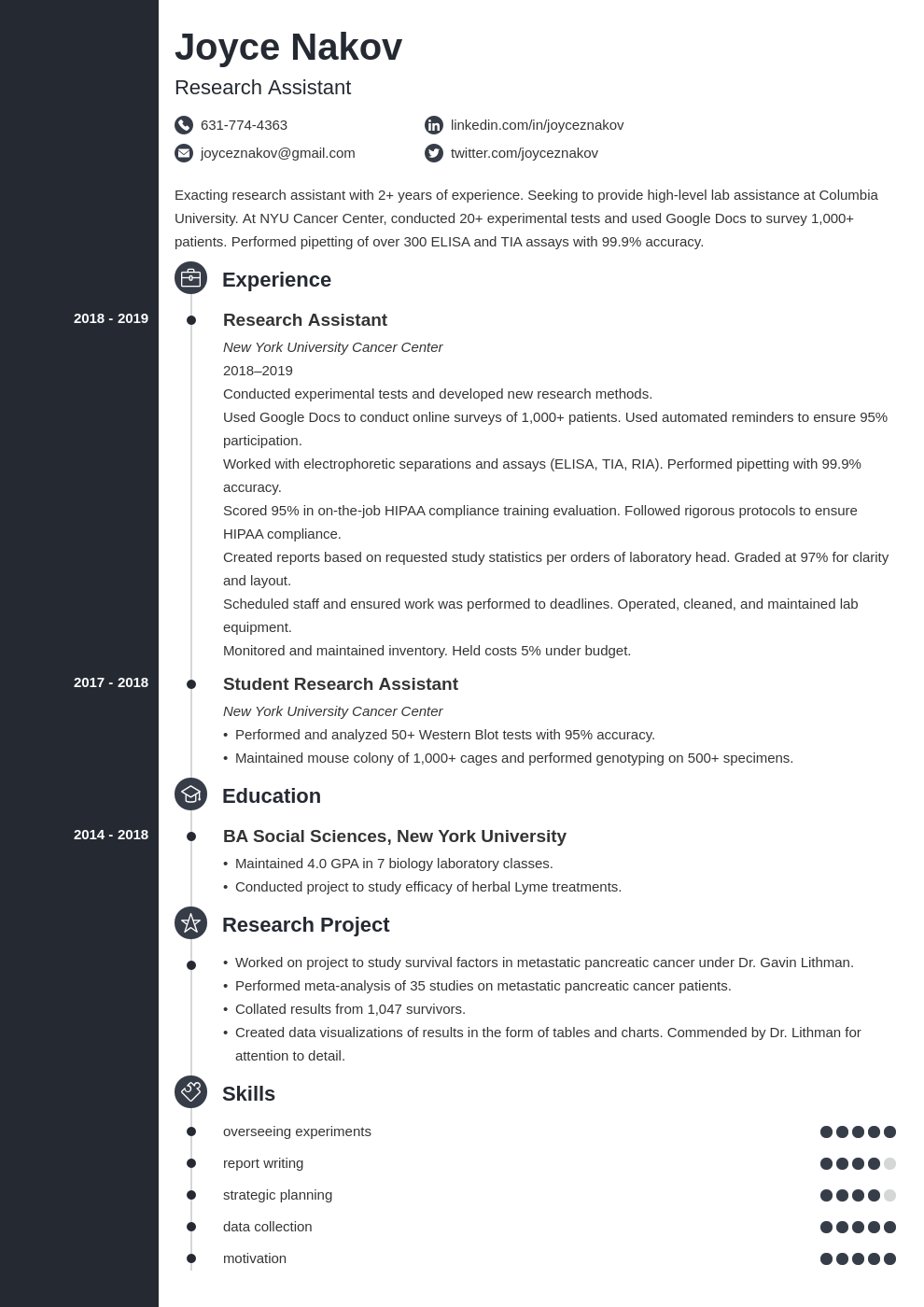 research assistant template concept uk