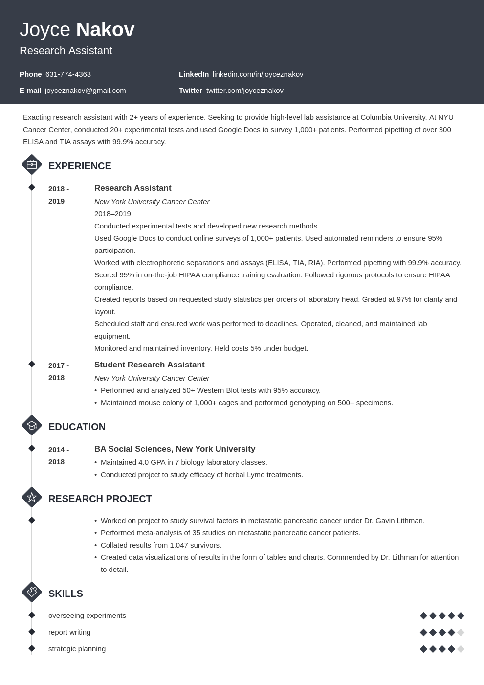 research assistant template diamond uk