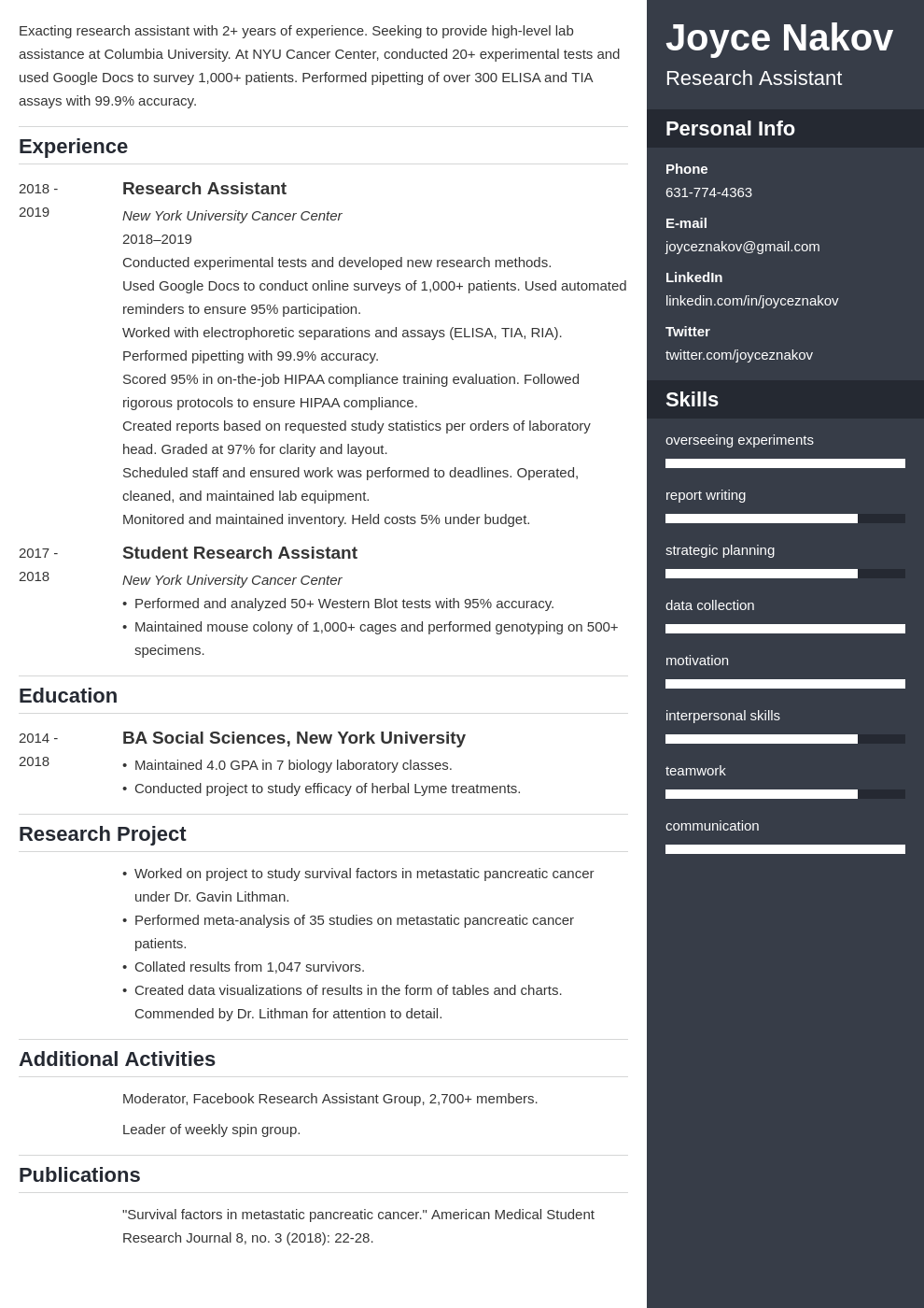 research assistant template enfold uk