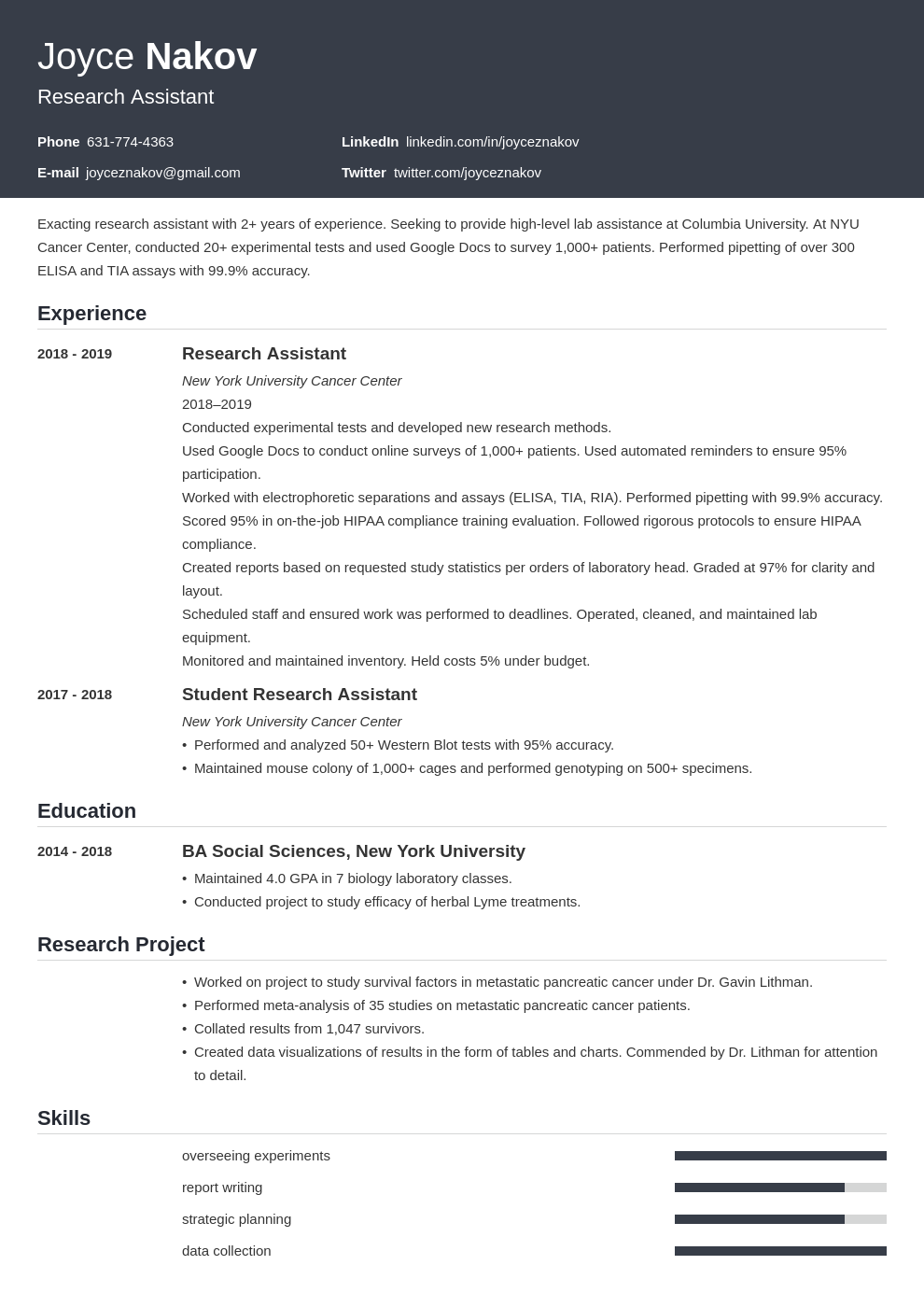 research assistant template influx