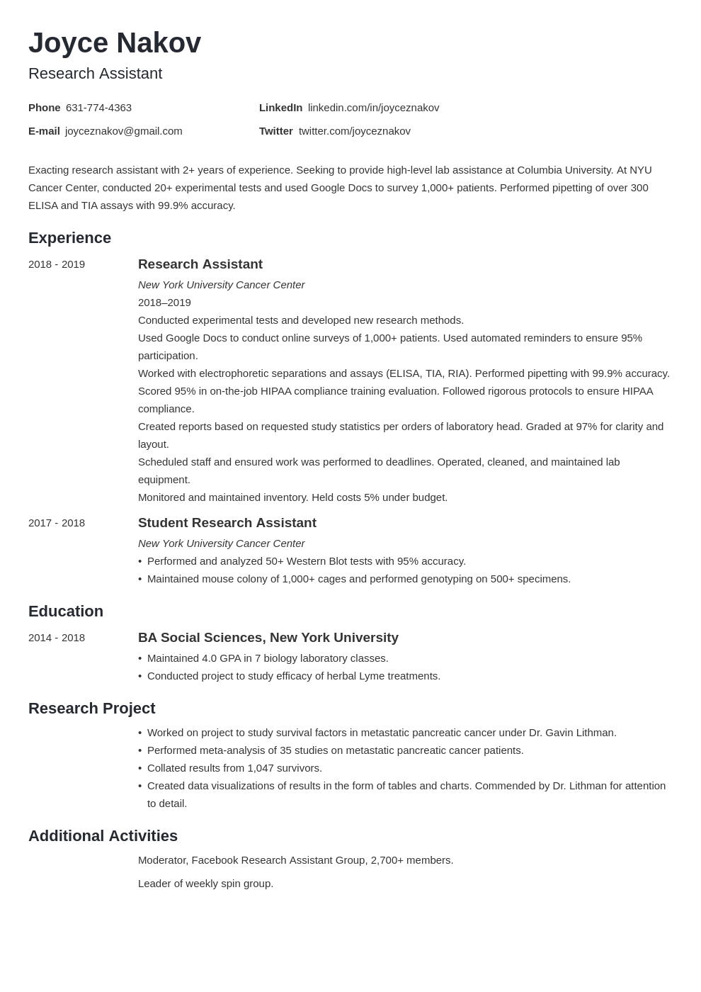 research assistant template minimo uk