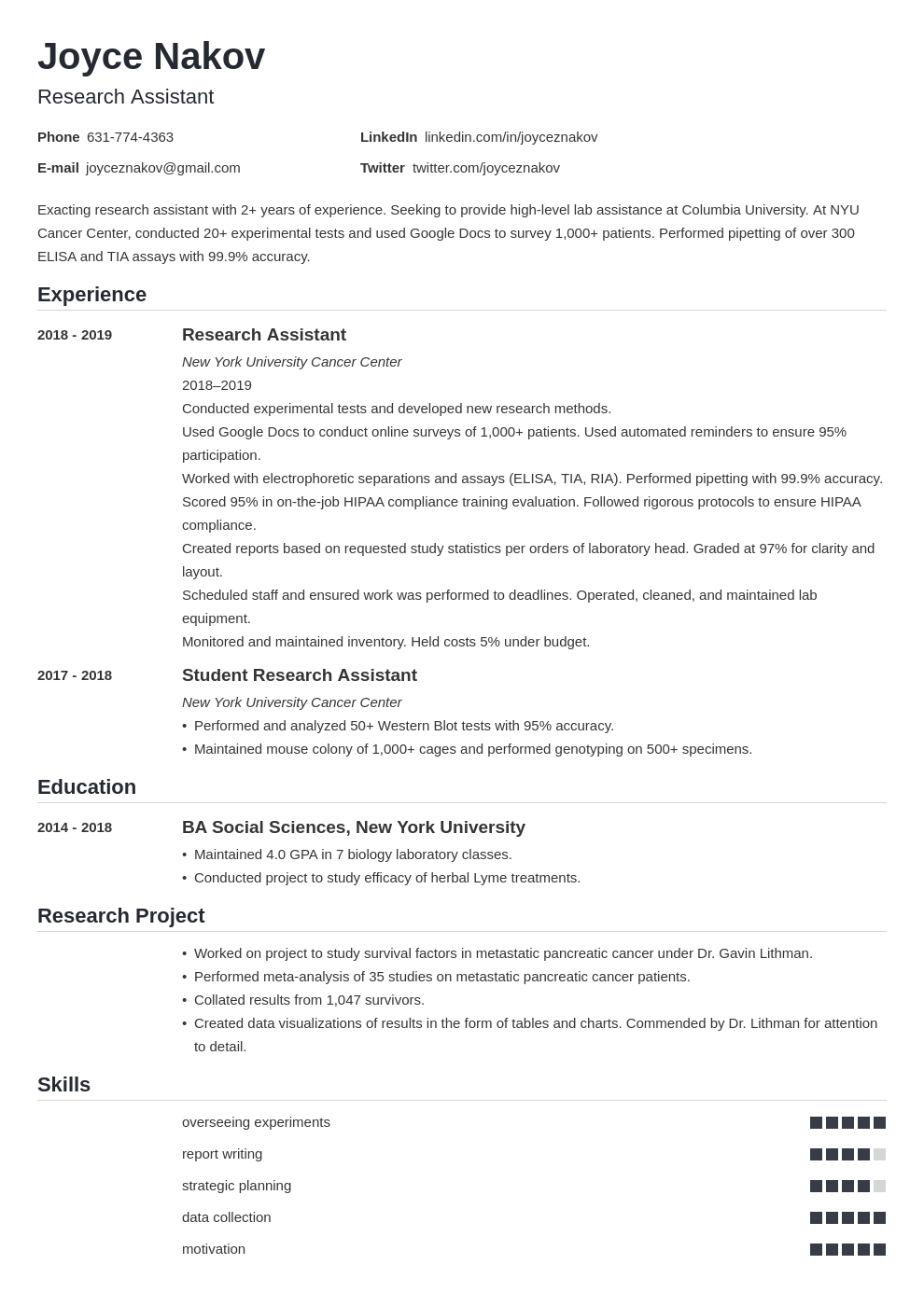 research assistant template nanica