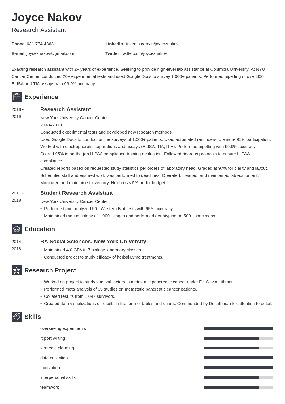 research assistant template newcast uk