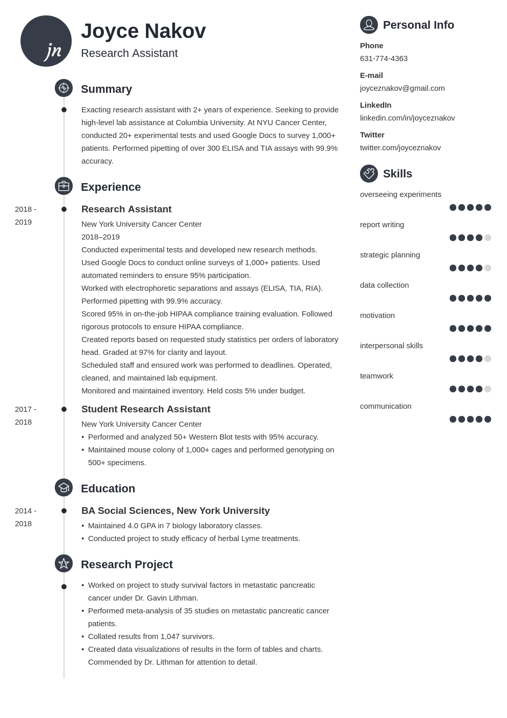 research assistant template primo