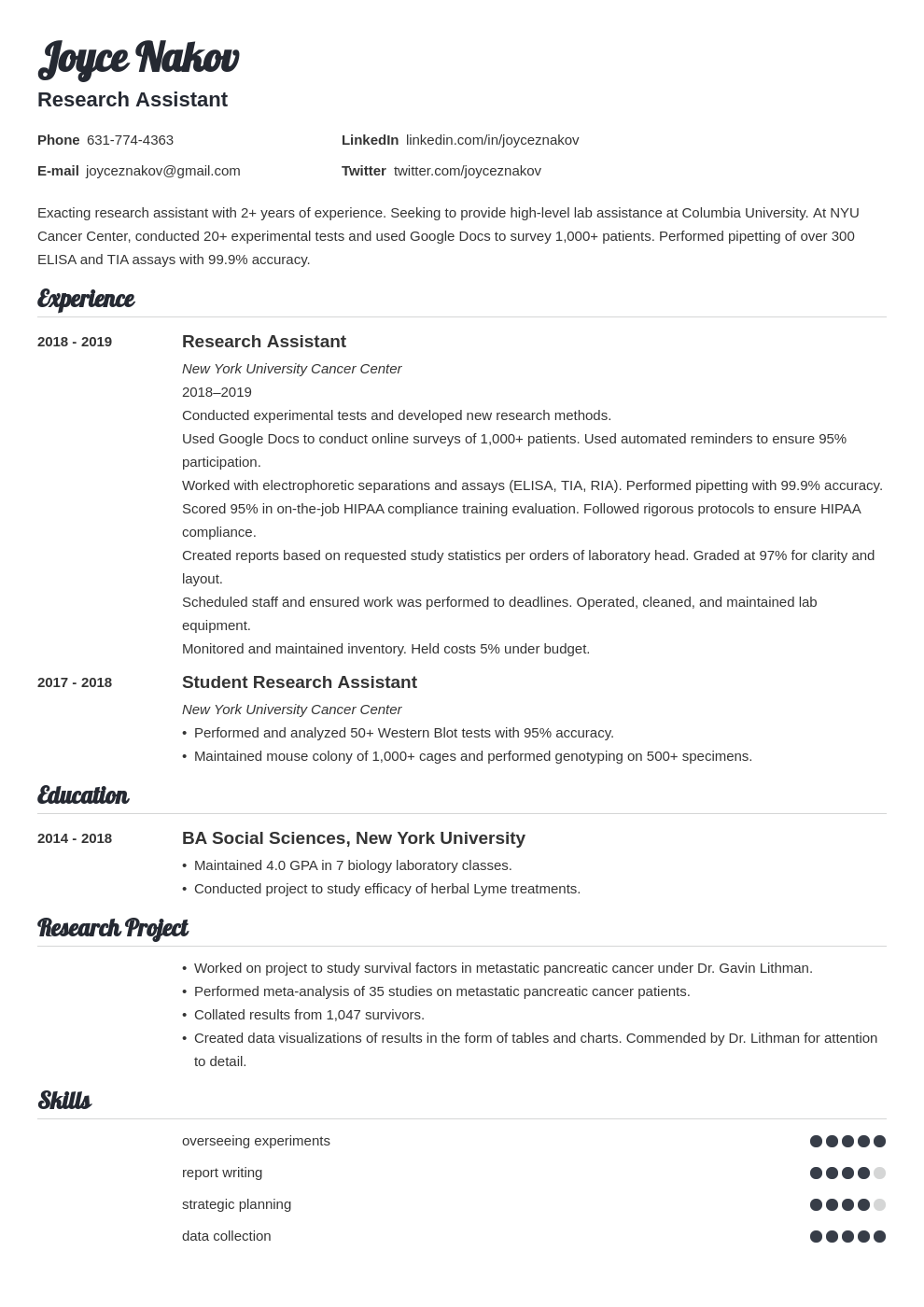 research assistant template valera uk