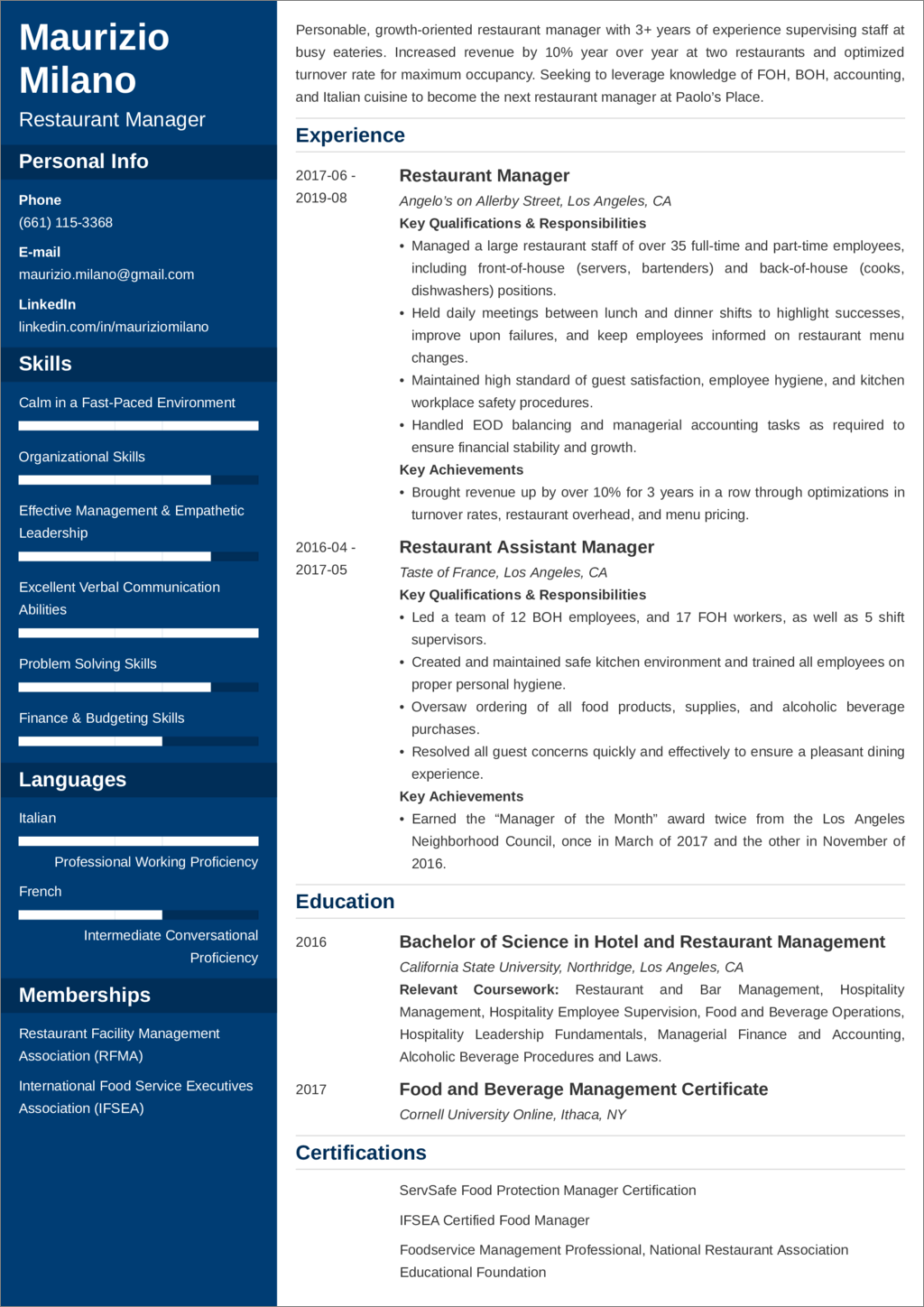 restaurant manager resume u2014examples and 25  writing tips