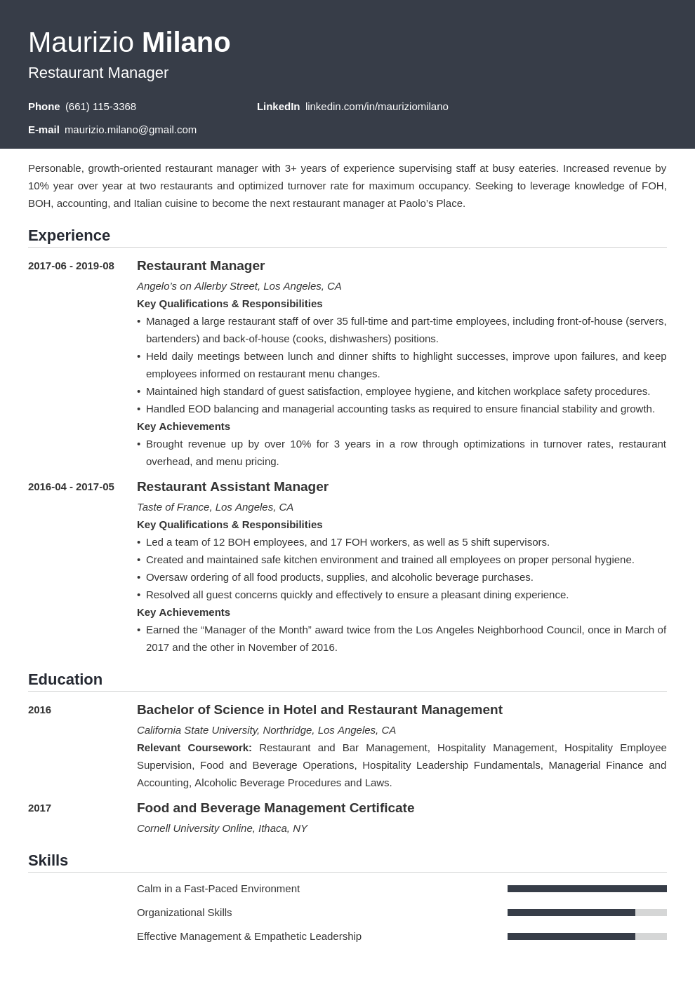 restaurant manager template influx uk