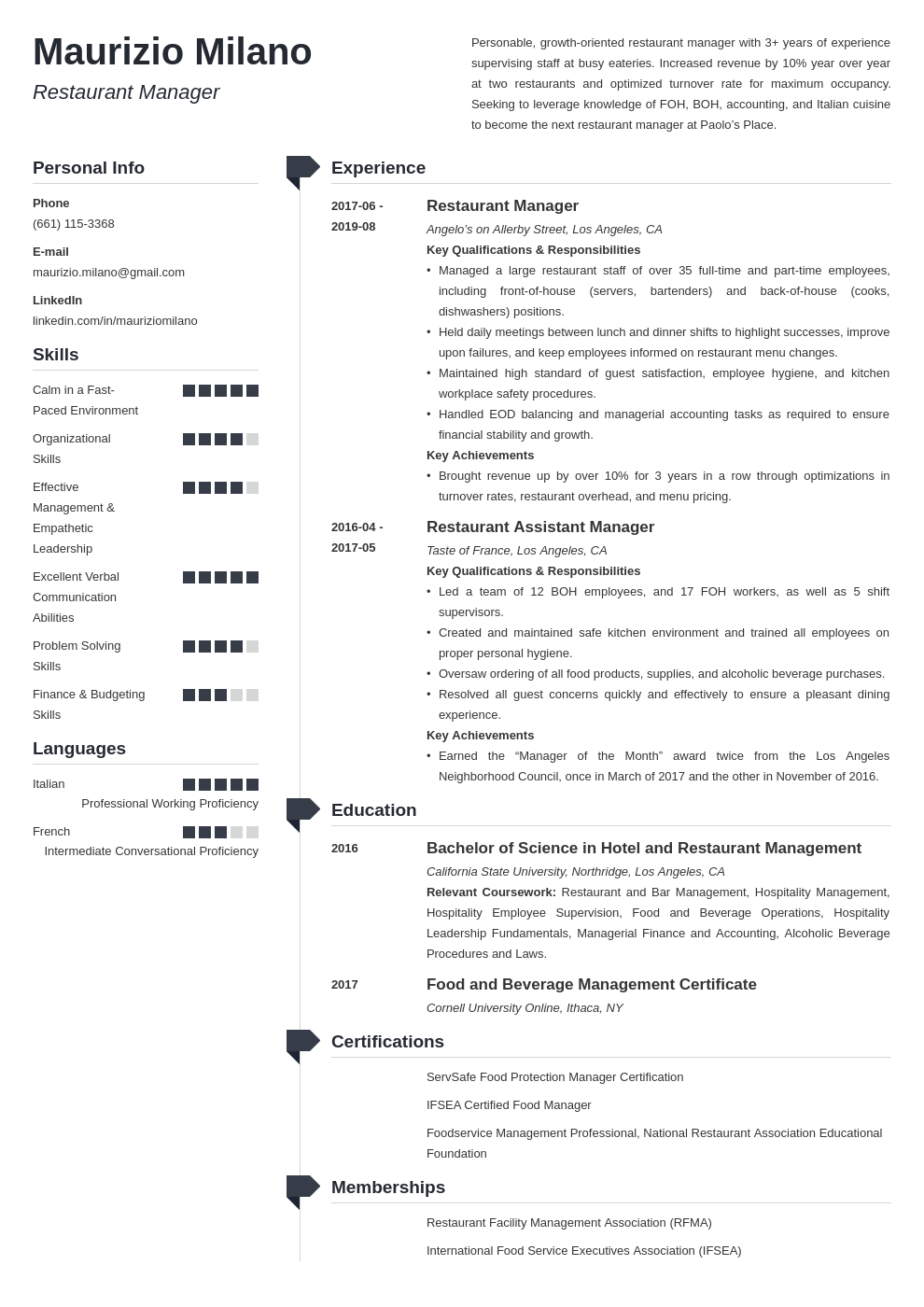 restaurant manager template muse uk