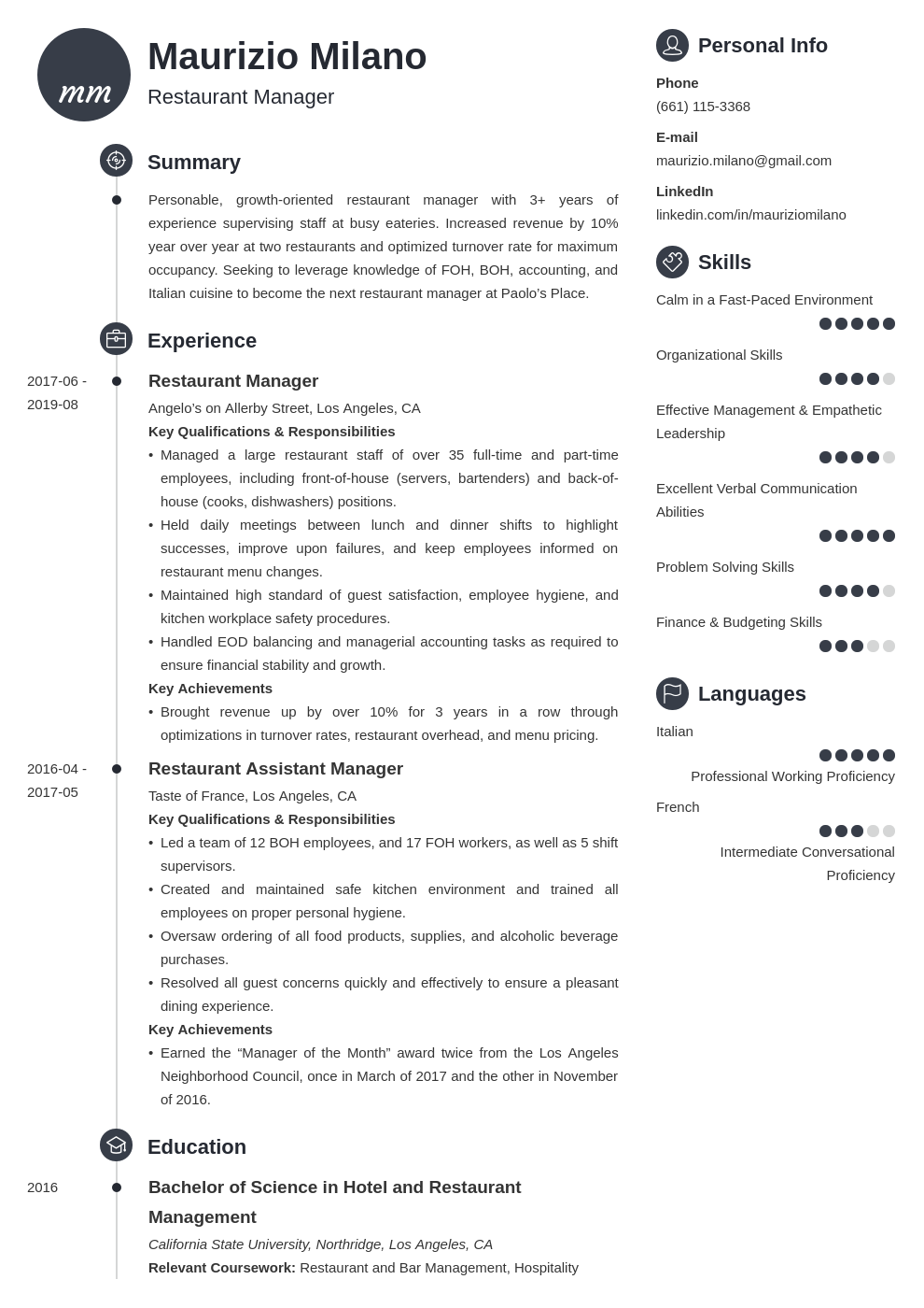 restaurant manager template primo