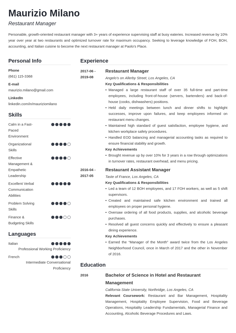 restaurant manager template simple uk