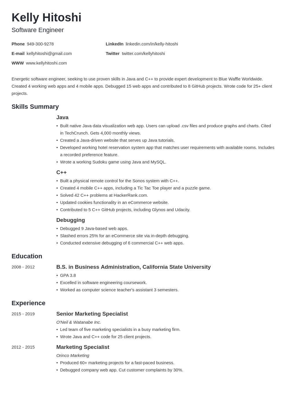 resume career change template minimo