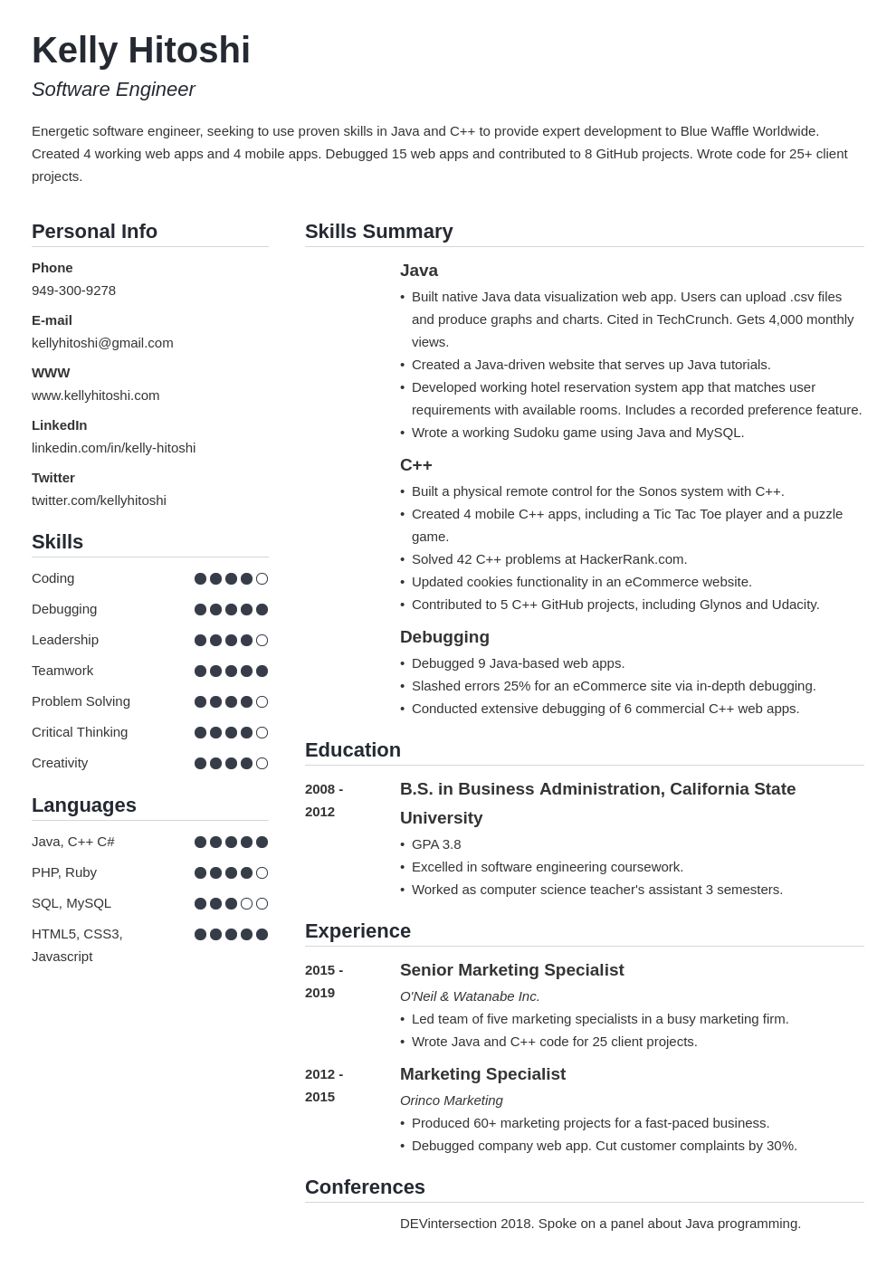 resume career change template simple