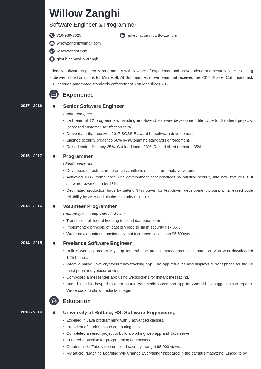 resume chronological template concept