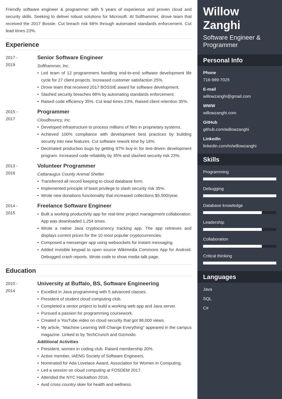 resume chronological template enfold