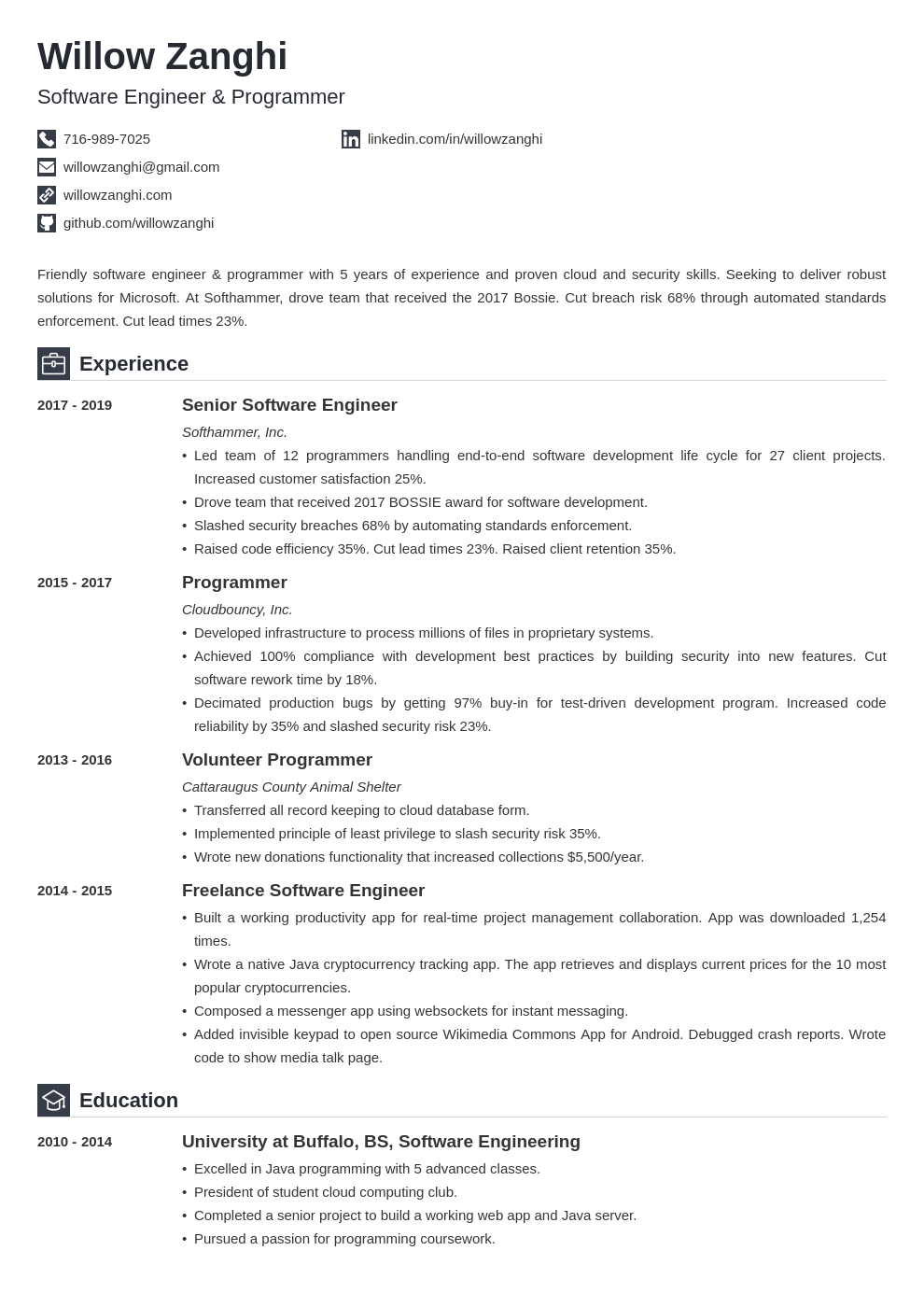 resume chronological template iconic