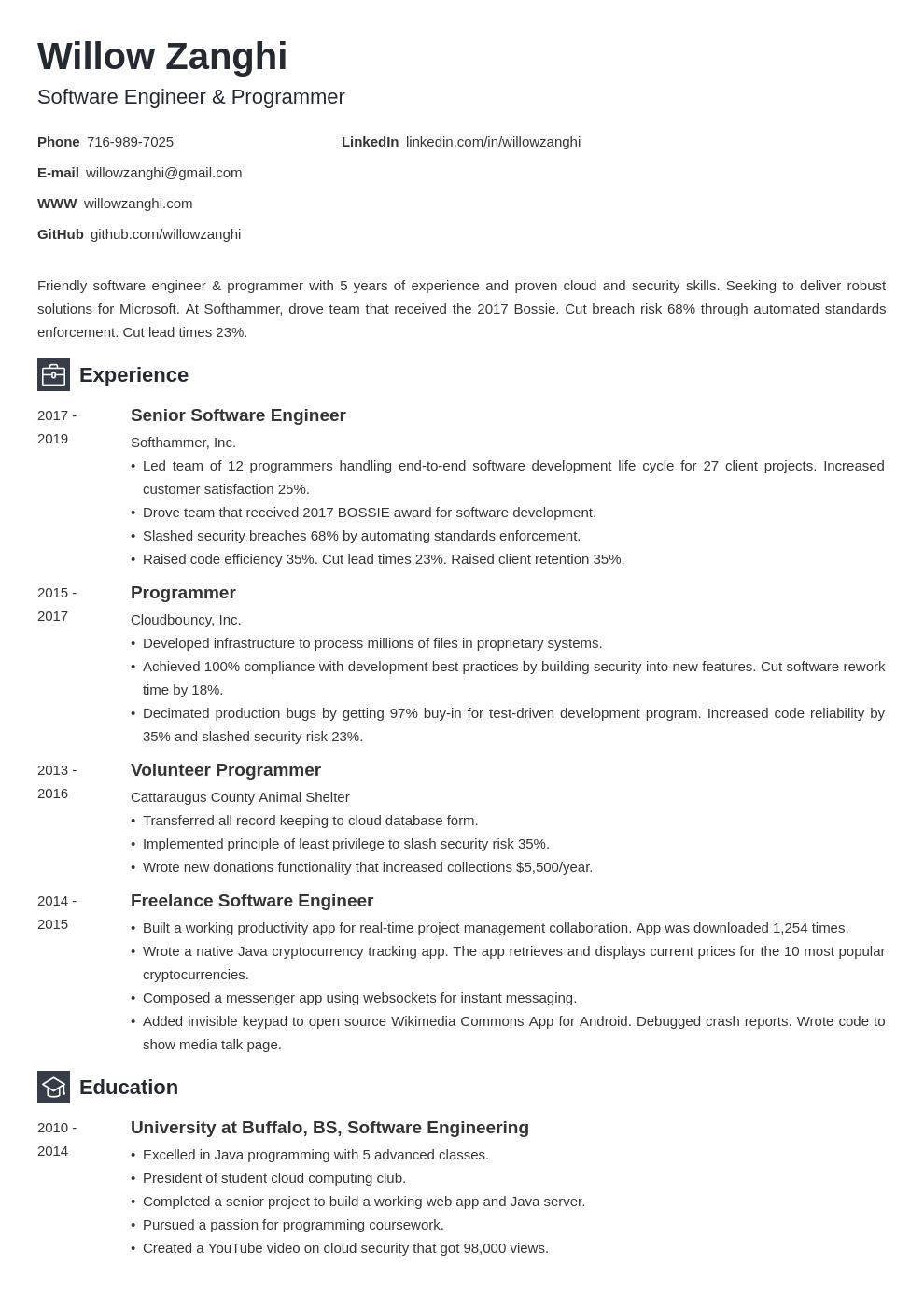 resume chronological template newcast