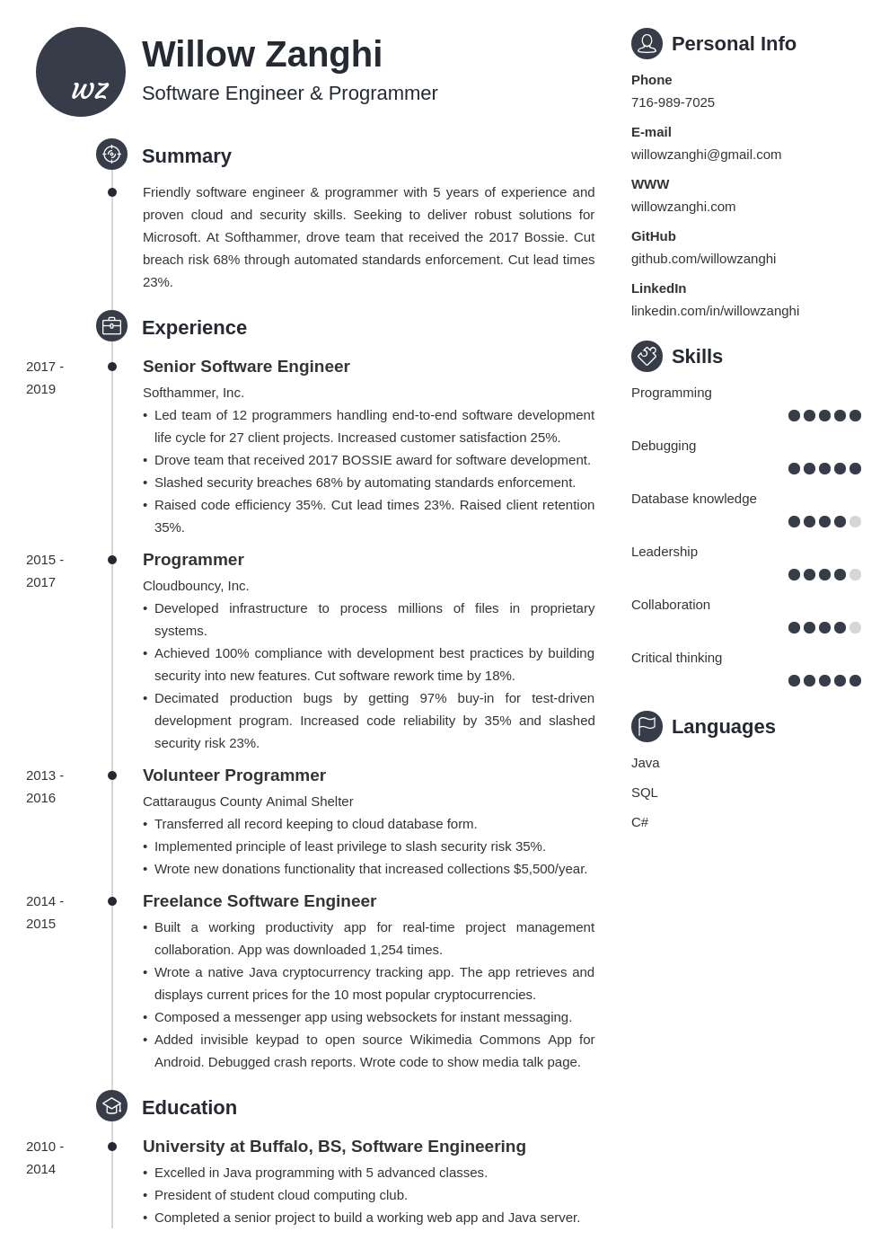 resume chronological template primo