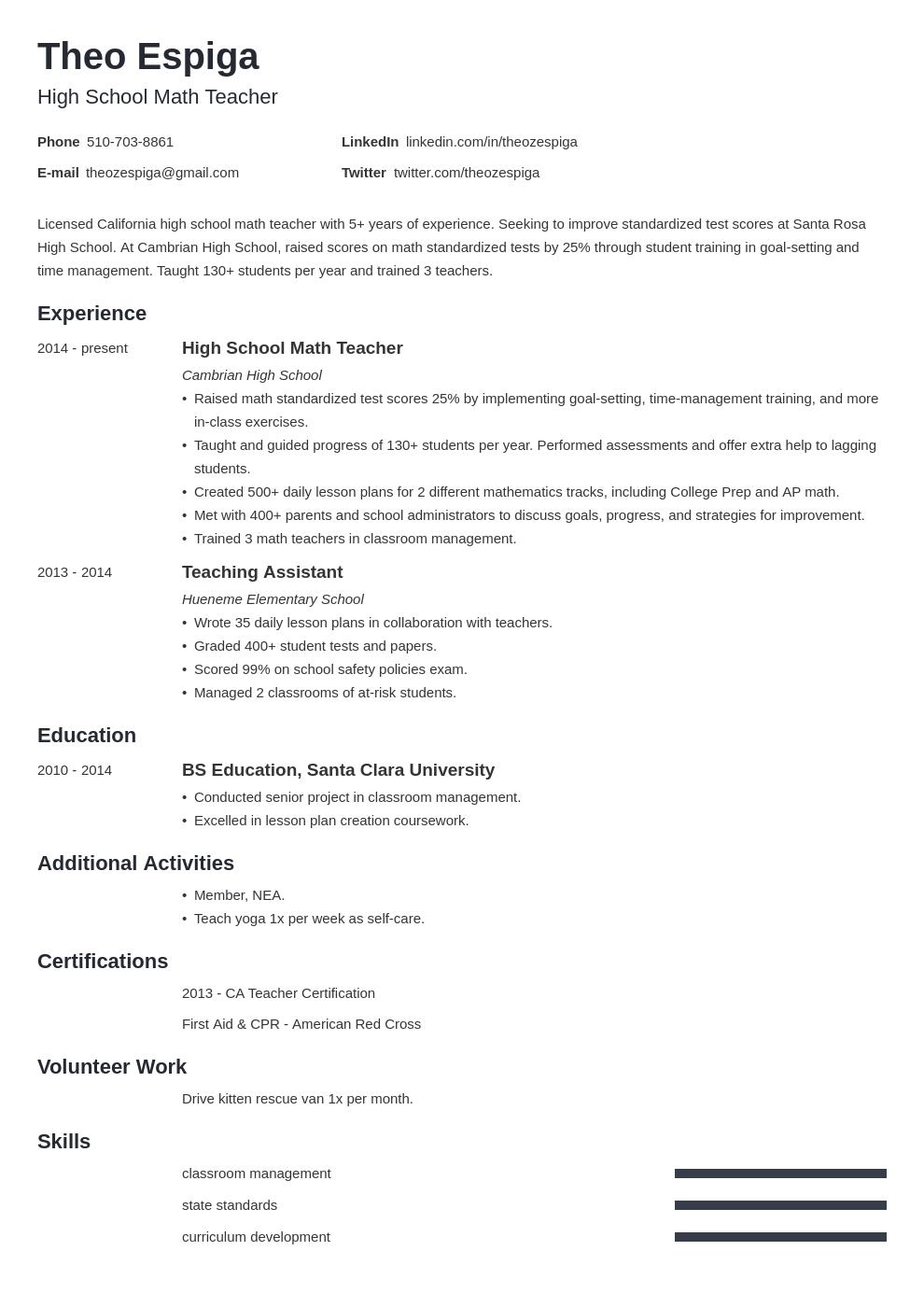 resume education template minimo