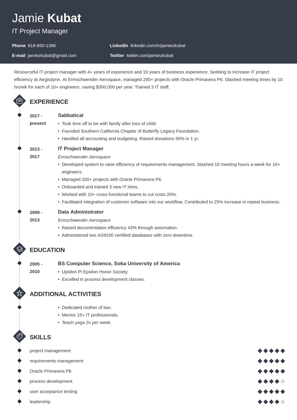 resume employment gaps template diamond