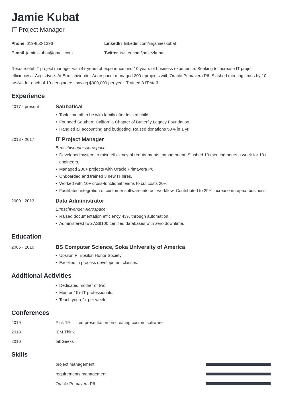 resume employment gaps template minimo