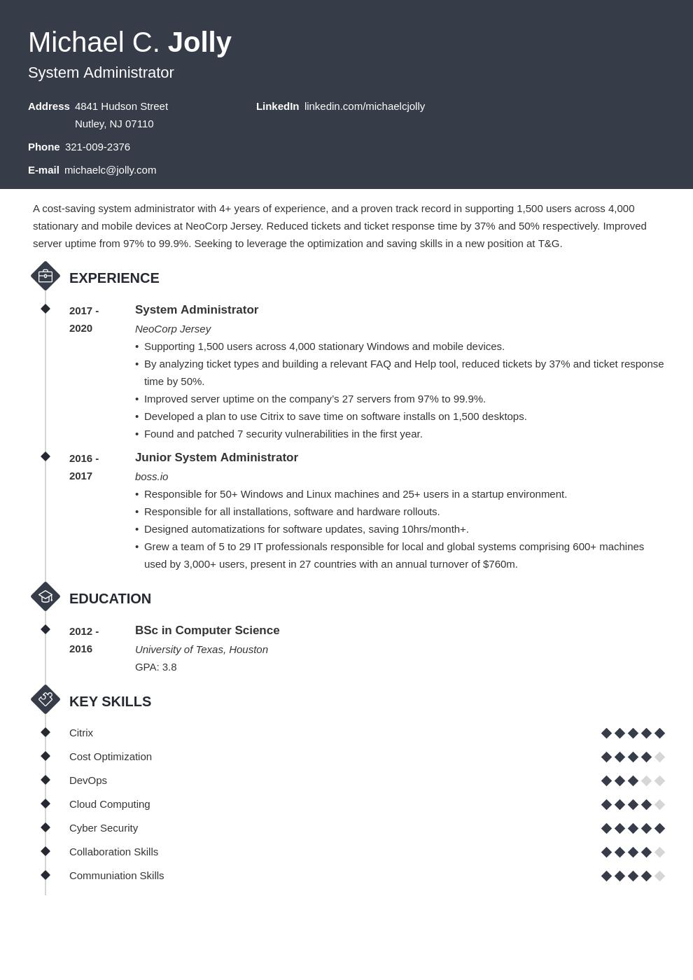 resume examples system administrator template diamond
