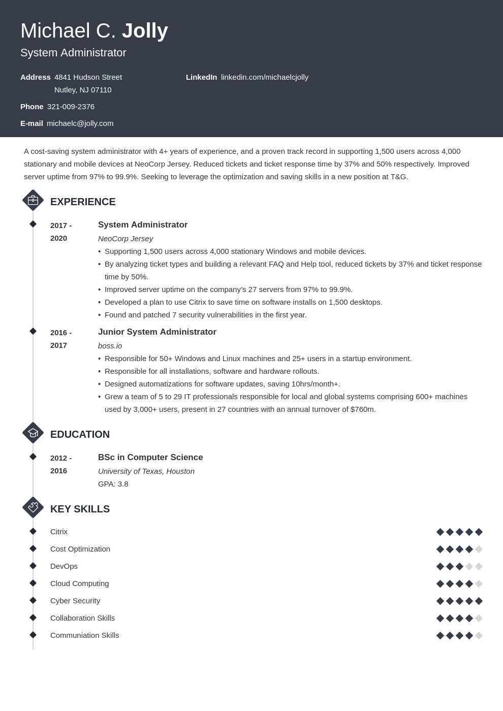 resume examples system administrator template diamond uk