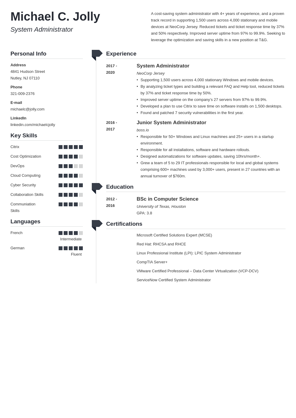 resume examples system administrator template muse