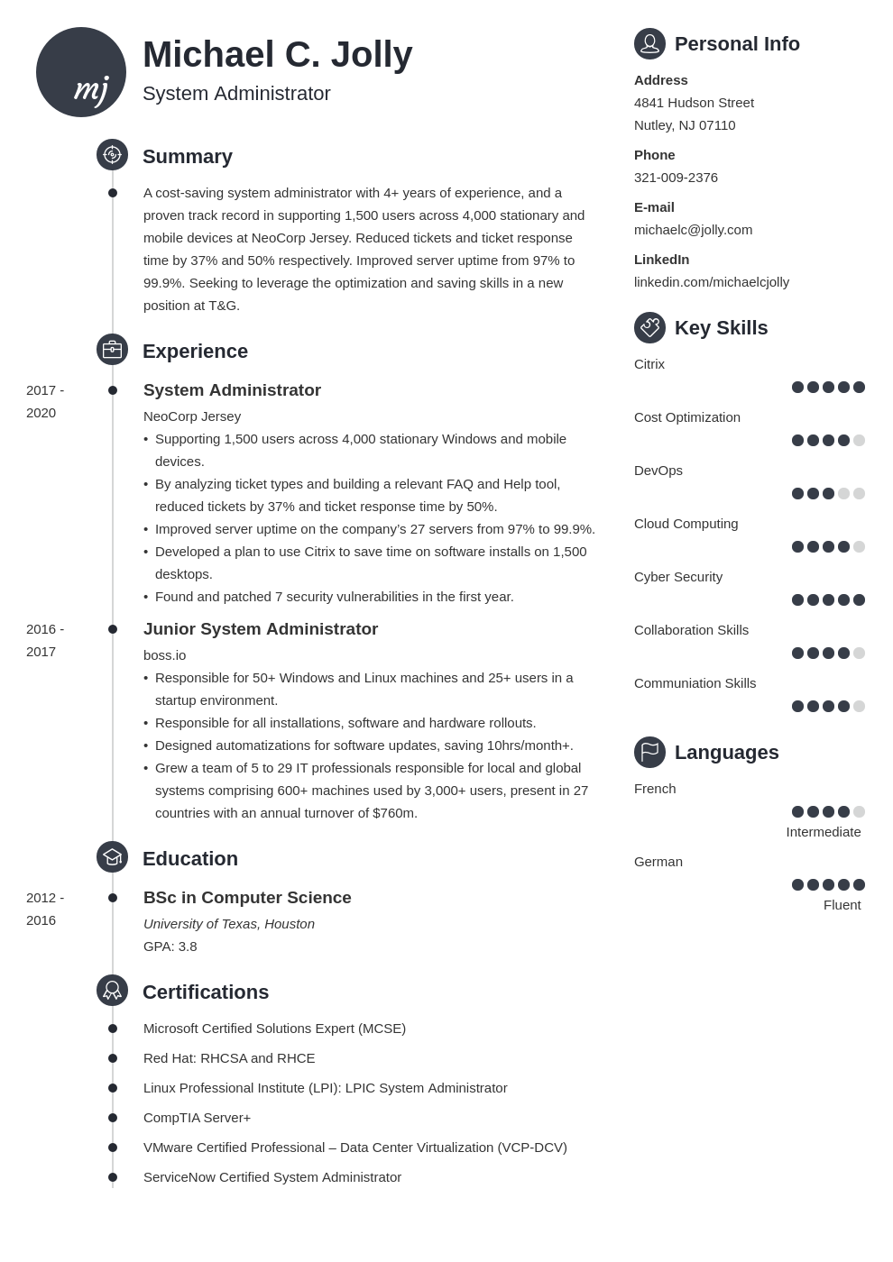 resume examples system administrator template primo