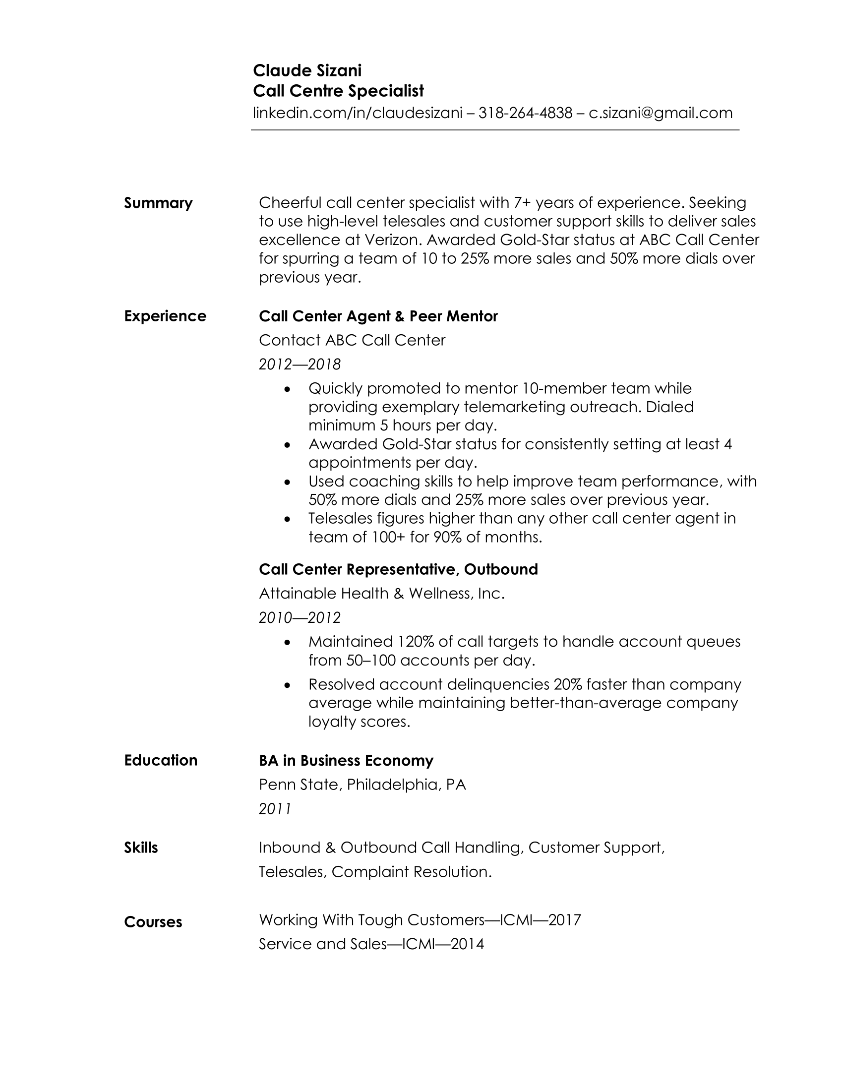 Example of a Simple Resume Format and Layout (MS Word)