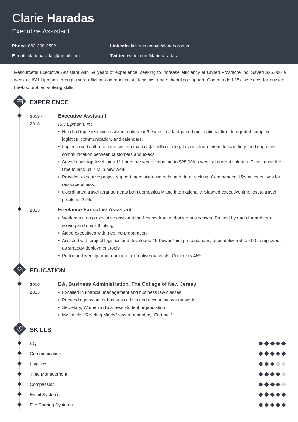 resume format template diamond