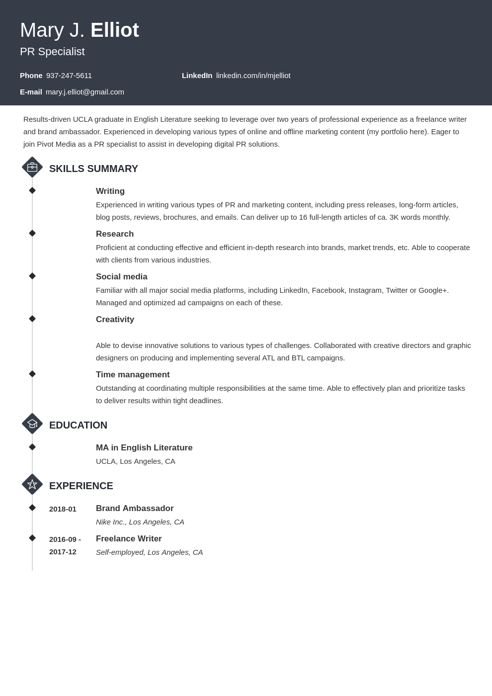 resume functional template diamond