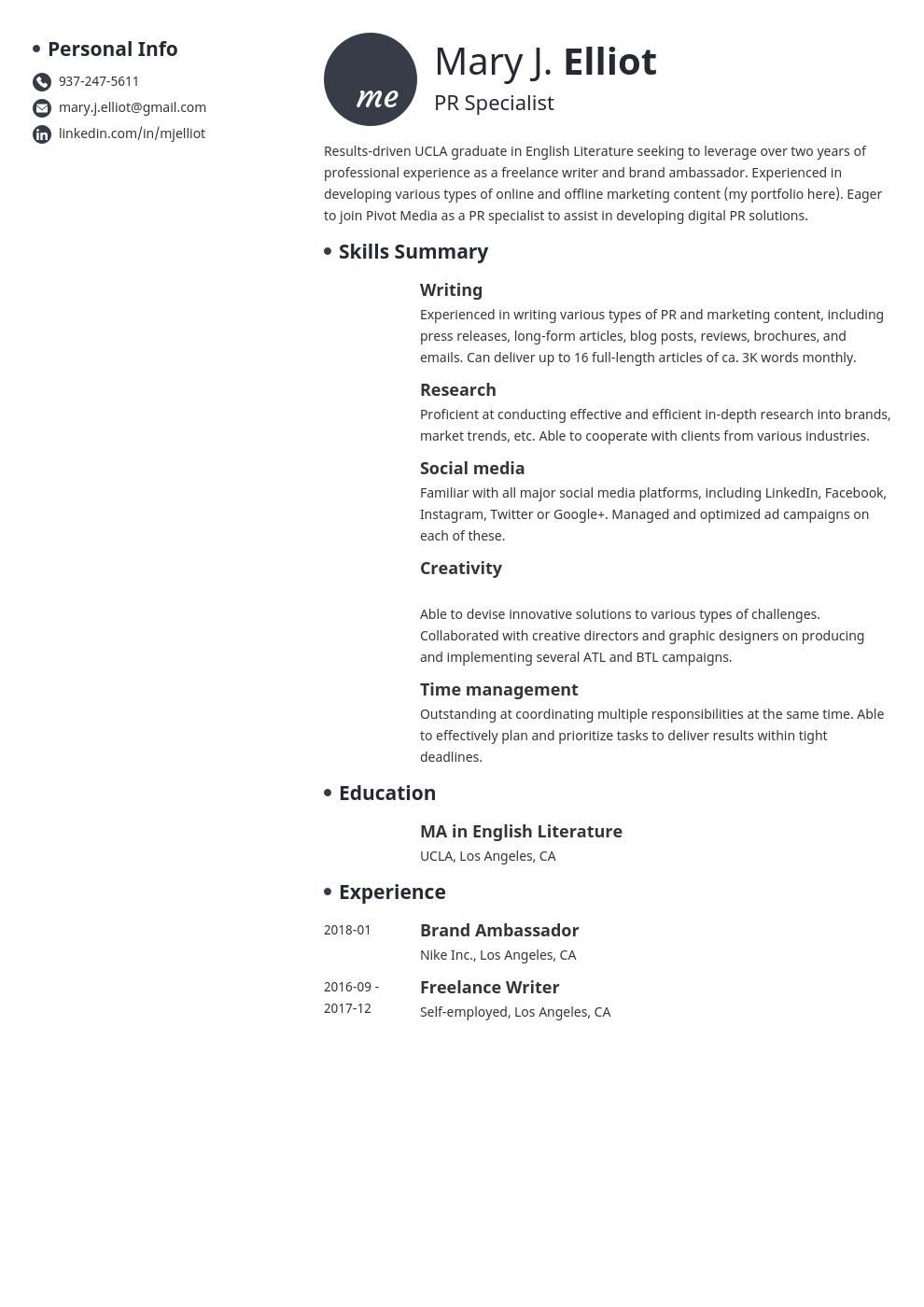 resume functional template initials uk