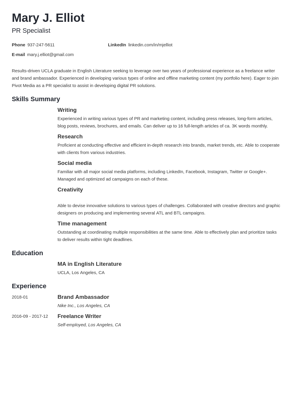 resume functional template minimo