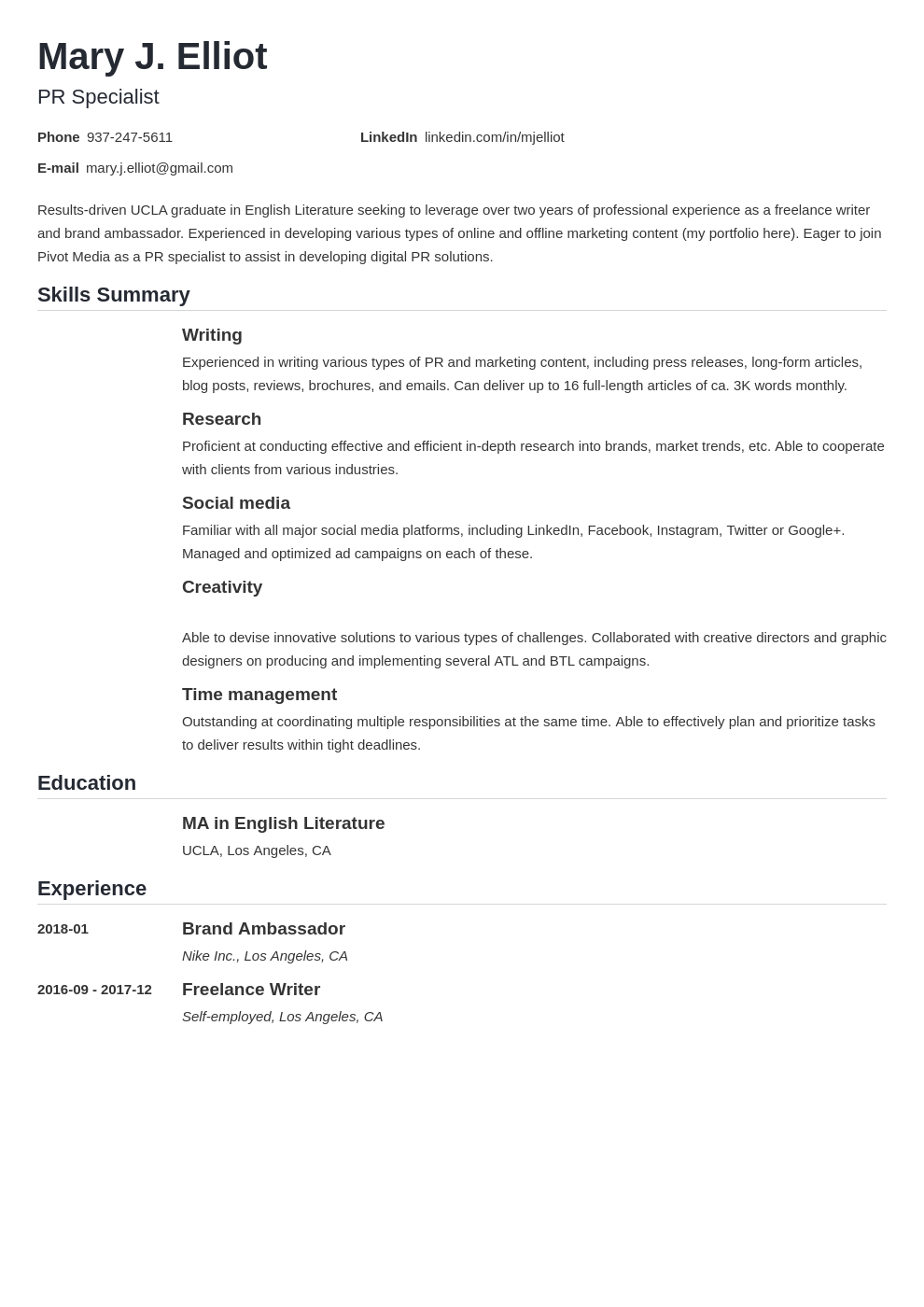 resume functional template nanica