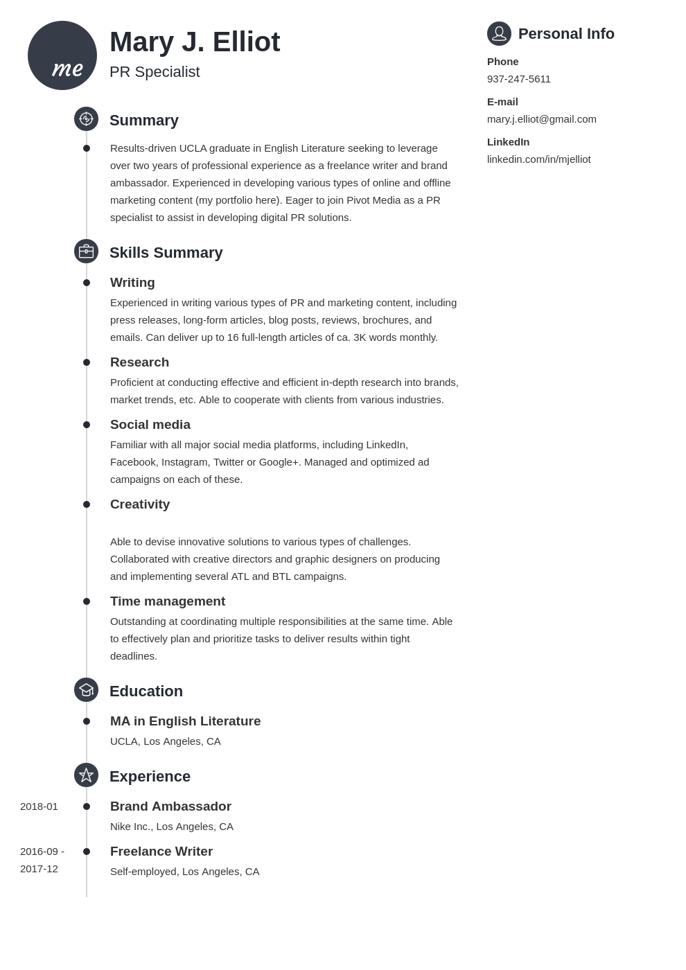 resume functional template primo