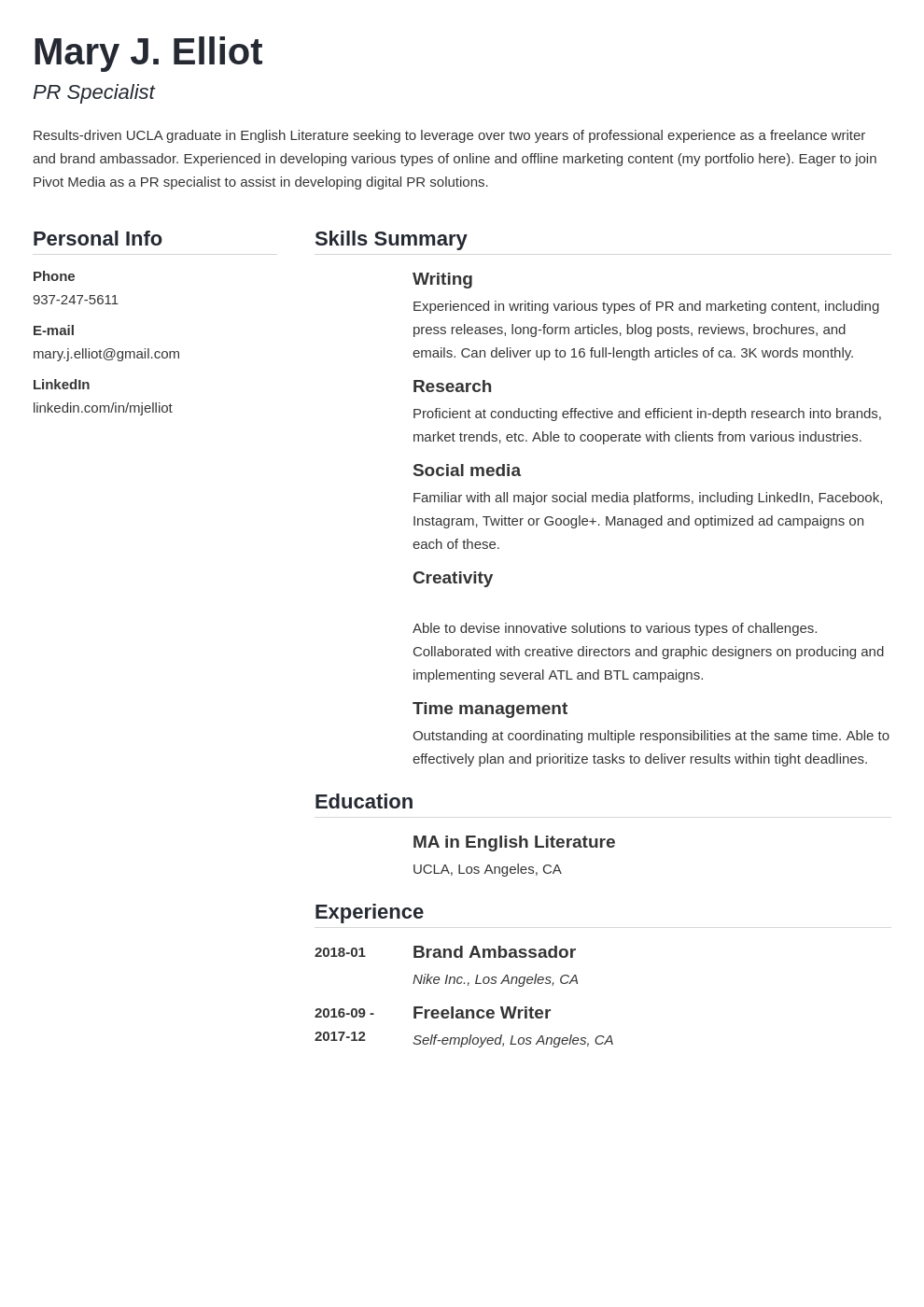 resume functional template simple
