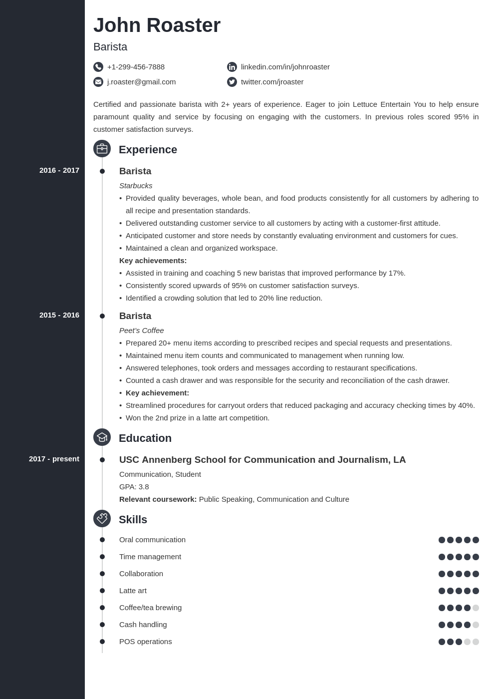 resume interests template concept