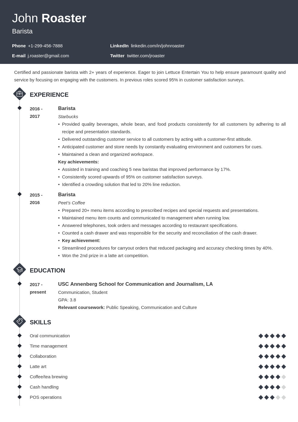 resume interests template diamond