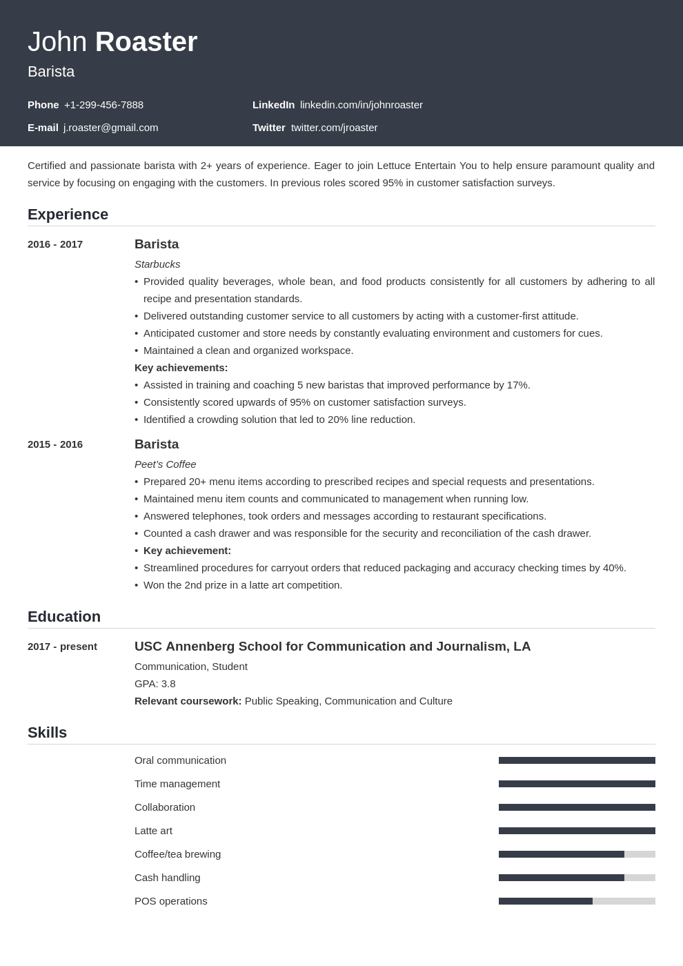 resume interests template influx