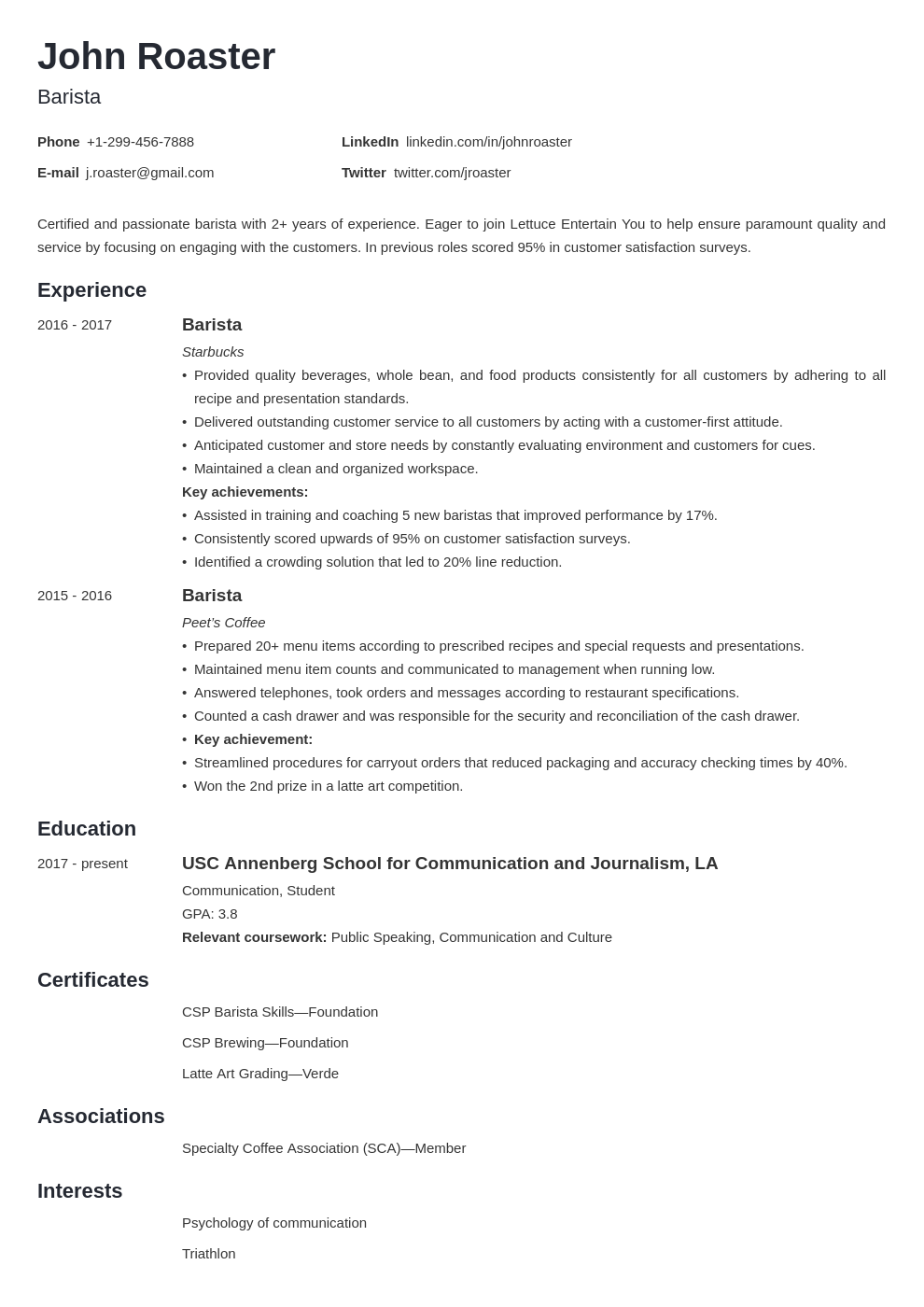 resume interests template minimo