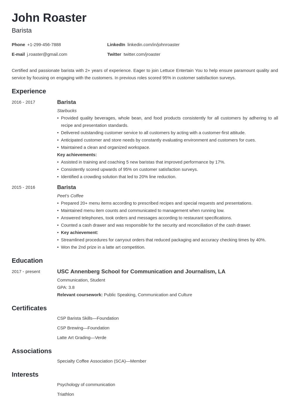 resume interests template minimo 1612450747