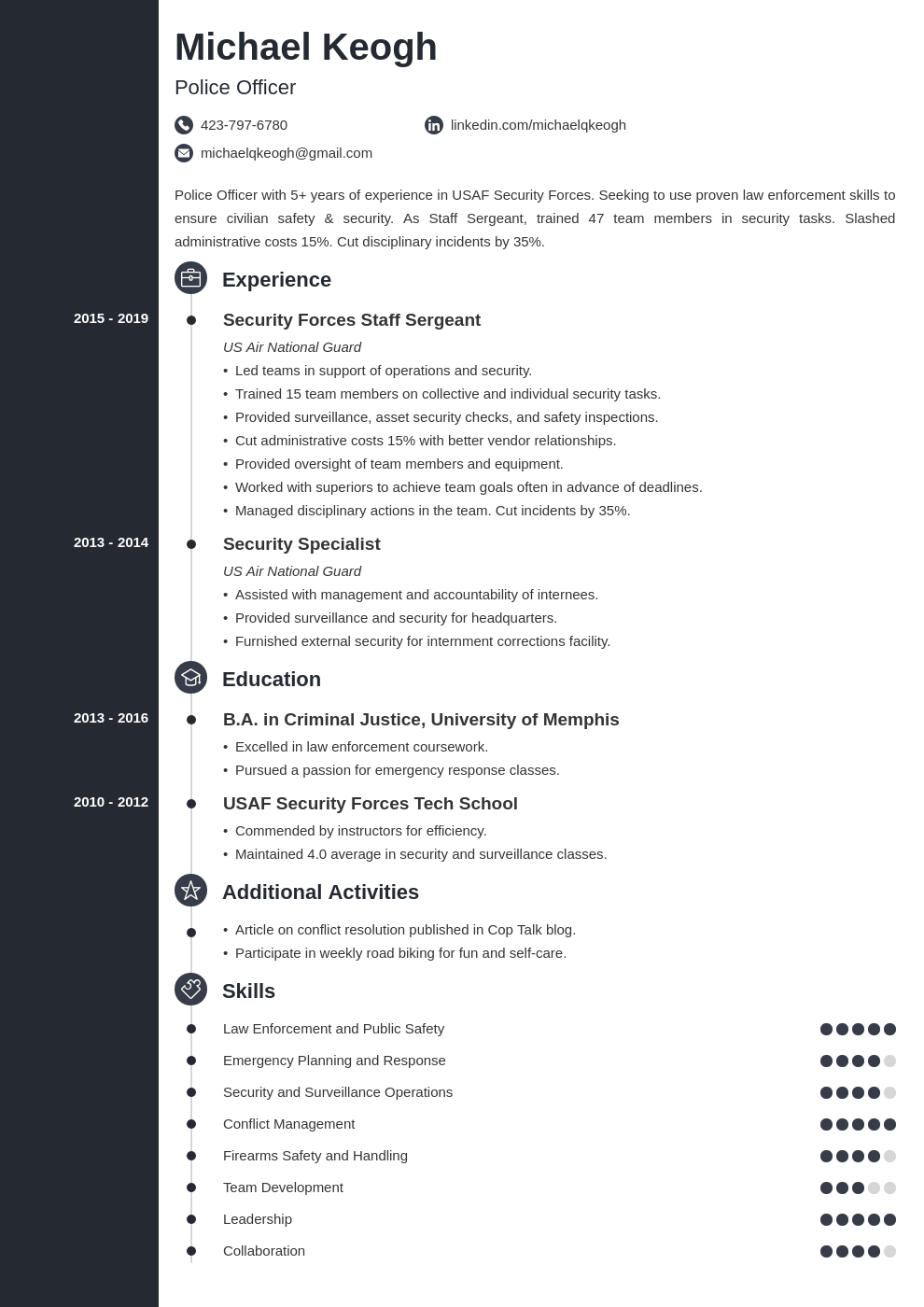 resume military template concept