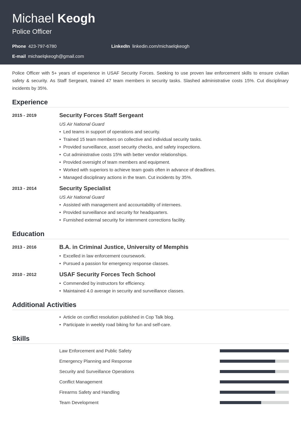 resume military template influx uk