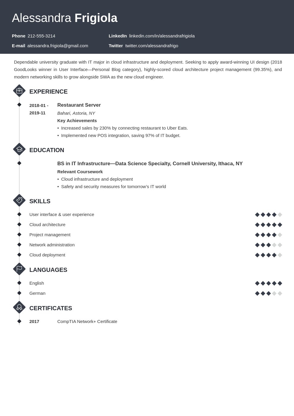 resume objective template diamond