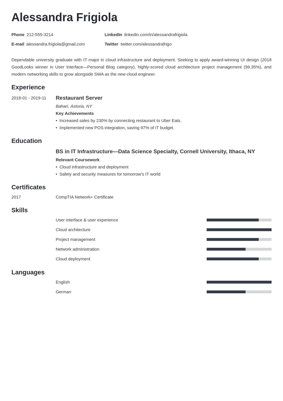 resume objective template minimo